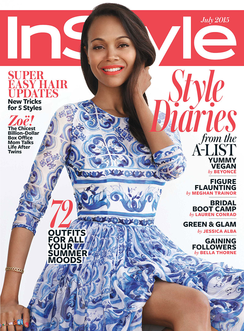 covergirl zoe saldana for instyle magazine june 2015 issue styleceleb. Black Bedroom Furniture Sets. Home Design Ideas