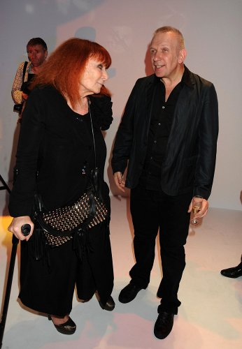 L-R: Fashion designers Sonia Rykiel, John Paul Gaultier during the Jean Paul Gaultier Fall 2009 Couture Collection, held at 325 Rue Saint Martin in Paris, France, Wednesday, July 8, 2009. Photo by Jennifer Graylock-Graylock.com