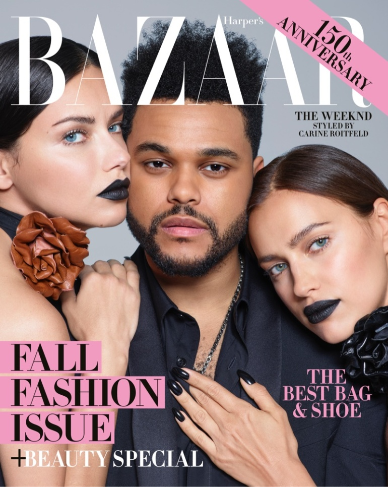 Adriana-Lima-Irina-Shayk-The-Weeknd-Harpers-Bazaar-September-2017-Cover